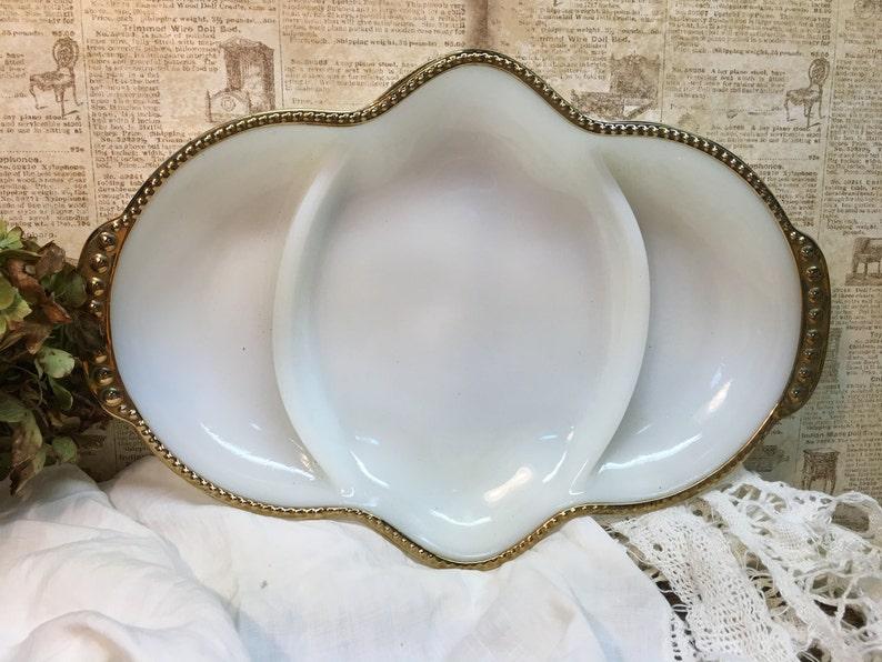 Anchor Hocking Milk Glass Divided DishFire King WareMade in USA