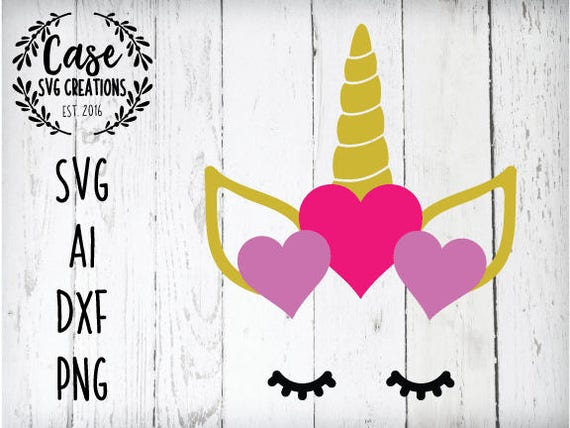 Unicorn Face Valentine S Day Svg Cutting File Ai Dxf And Etsy