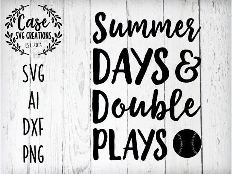 593fbf7fb44 Summer Days and Double Plays SVG Cutting File Ai Dxf and PNG