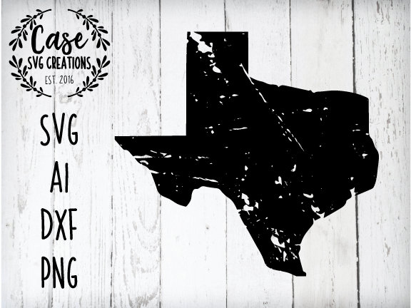 Distressed Texas SVG Cutting File, AI, Dxf and Printable PNG Files