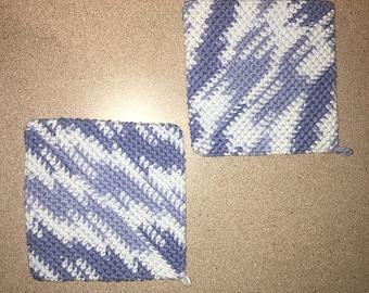 blue double sided crochet pot holders / hot pad