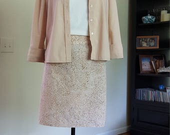 Taupe and white batik staight skirt.  Size Medium. Size 8.  Handmade USA.