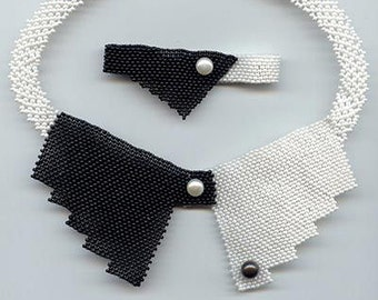 Beading pattern seed beaded black white collar necklace instructions beading peyote peyote stitch necklace seed bead beads beadwork bracelet