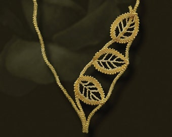 Beading pattern seed beaded Golden leaves necklace instructions beading peyote stitch russian leaves asymmetrical necklace seed beadwork diy
