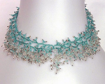 Beading Pattern seed beaded necklace instructions seed bead coral coraling fringe necklace beading tutorial beading patterns beads jewelry