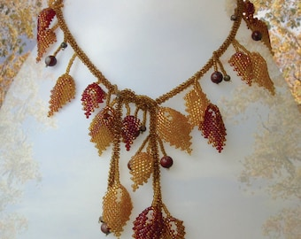 Beading pattern seed beaded Autumn leaves necklace instructions beading peyote stitch leaves seasonal lariat necklace seed beads beadwork