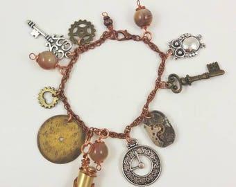 Copper charm bracelet, copper jewelry, steampunk charm bracelet, steampunk bullet shell jewelry, watch movement bracelet, Botswana Agate
