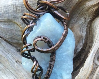 Blue chalcedony pendant, chalcedony wire wrapped necklace, wire wrapped gemstone jewelry, crystal jewelry, copper wire jewelry