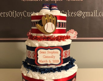 Boston Red Sox Custom Diaper Cake Various Sizes Available