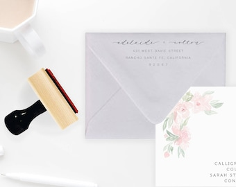 Custom Calligraphy Address Stamp with Wooden Handle