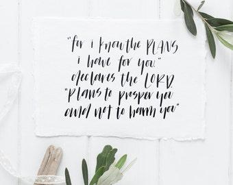 Handwritten Calligraphy Bible Verse Card