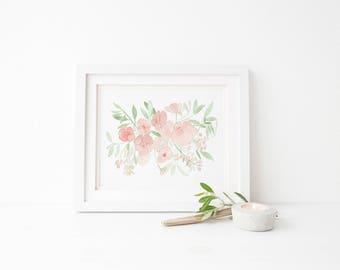 Watercolor Peony Bouquet Print