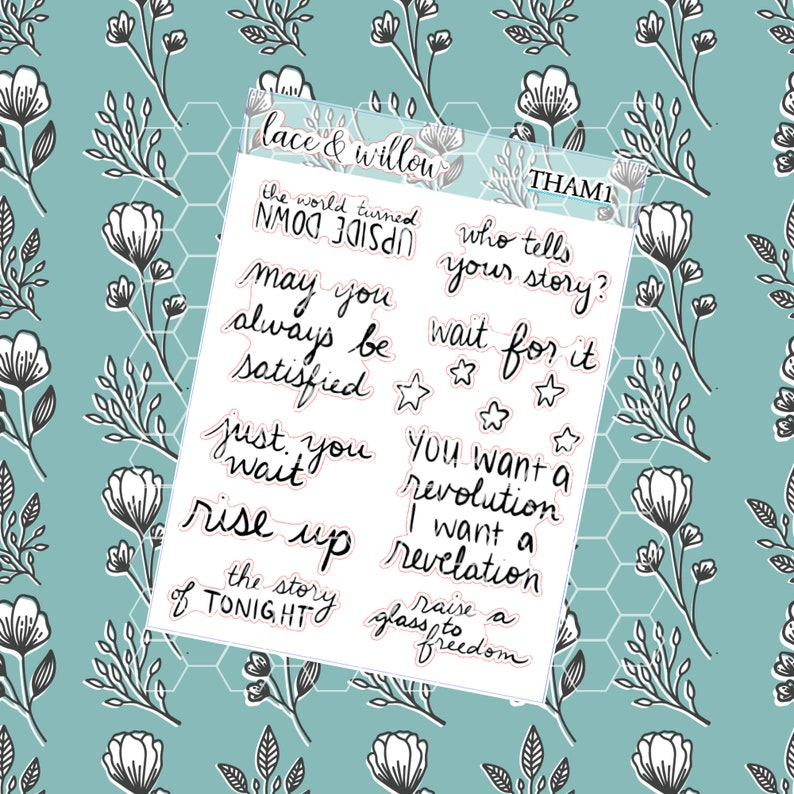 Hamilton Quotes Planner Stickers  Hand Lettered  Hand image 0