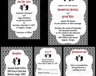 Nightmare Before Christmas Wedding Invitations Etsy