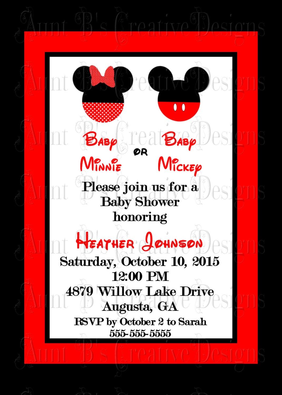 Baby Minnie or Baby Mickey Shower Invitation Disney Inspired