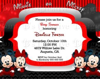 Baby Minnie & Mickey Baby Shower Invitation, Disney Babies Inspired Baby Shower Invitation