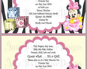 Baby Minnie or MckeyZebra Print Baby Shower Invitation, Disney Baby Inspired Baby Shower Invitation, Disney Baby Shower Invitation
