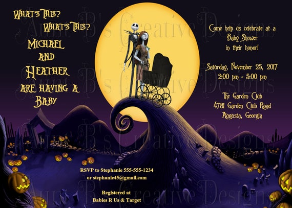 Nightmare Before Christmas Baby Shower Invitation Jack And Etsy