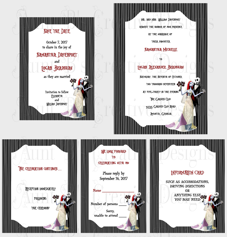 Jack and Sally Wedding Invitation set/ Nightmare Before | Etsy