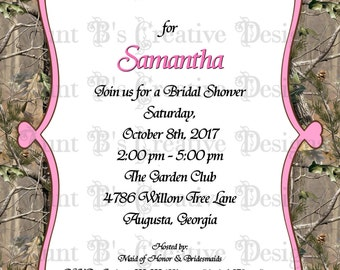 Camo Heart Frame Bridal Shower Invitation, Camo Bridal Shower Invitation