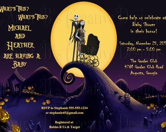Nightmare Before Christmas Baby Shower Invitation/ Jack and Sally Expecting Baby Shower Invitation