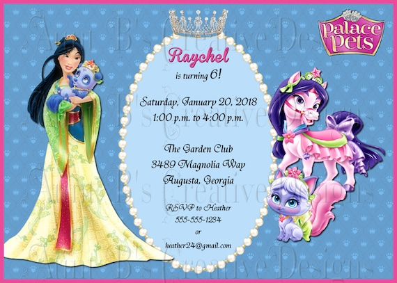 Palace Pets Birthday Invitation Mulan