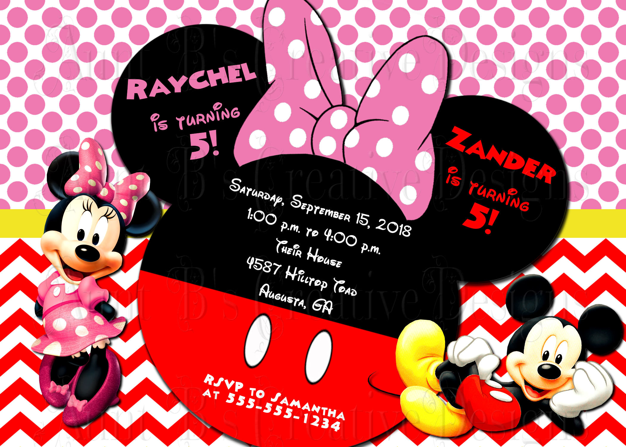 Minnie and Mickey Mouse Twins Birthday Invite/ Mickey and   Etsy