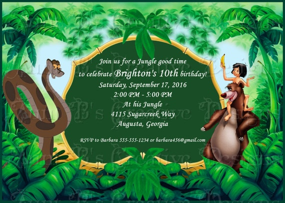 Jungle Book Cartoon Birthday Invitation Disney Inspired Birthday Invitation Jungle Book Invitation