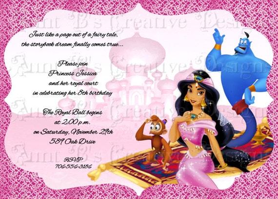 Jasmine Birthday Invitation Disney Inspired