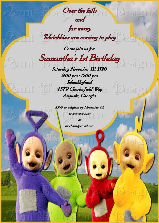 Teletubbies Birthday Invitation Childrens Birthday Invitation Etsy