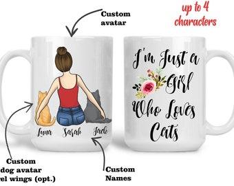 I'm Just a Girl Who Loves Cats Mug, Cat Mug, Custom Cat Mom, Cat Lover Gift, Gift For Cat Mom, Cat Lover Mug, Cat Mom Mug, Personalized Cat