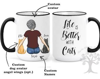 Life is Better With a Cat, Custom Cat Mom Mug, Cat Mother Mug, Cat Mom Gift, Cat Lover Gift, Gift for Cat Lovers,  Personalized cat mug