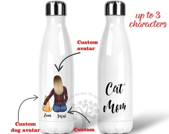Personalized Water Bottle, Personalized Cat Water Bottle, Cat Bottle, Custom Cat Mom, Cat Lover Gift, Gift For Cat Mom, Cat Mom Bottle, Cats