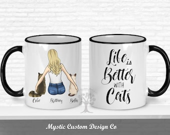a7b75205cfb5 Life is Better With a Cat Mug, Cat Mug, Custom Cat Mom, Cat Lover Gift, Gift  For Cat Mom, Cat Lover Mug, Cat Mom Mug, Cat Mom Gift