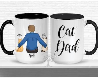 Personalized Cat Mug, Cat Mug, Custom Cat Dad, Cat Lover Gift, Gift For Cat Dad, Cat Lover Mug, Cat Dad Mug, Cat Dad Gift, Personalized Cat