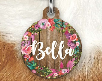 Floral Wood Pet Tag - Girly Pet Tag - Dog Tags For Dogs - Double sided Pet tag - Pet ID Tag - Dog Tag - Personalized Dog Tag- Pink Tag