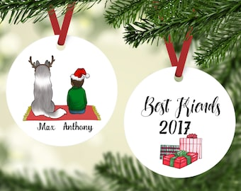 best friends with husky ornament husky christmas ornament personalized dog ornament husky gift kid with husky ornaments for kids