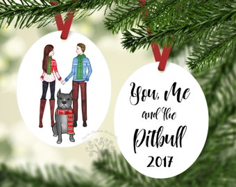 you me and the pitbull pitbull christmas ornament pitbull ornament pet gift dog ornament christmas ornament gift for couple