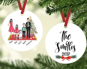 personalized christmas ornament family ornament family with husky ornament husky ornament family with dog ornament husky gifts