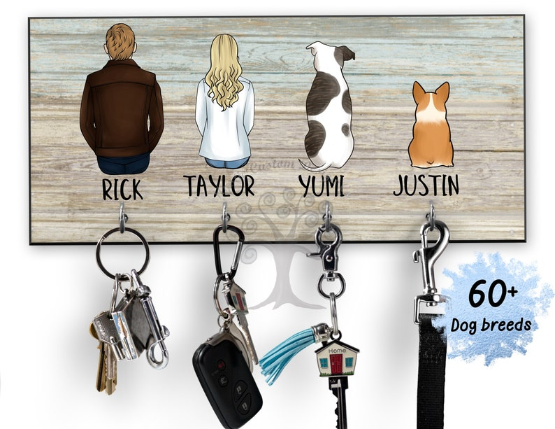 Personalized Key Holder for Wall Key and Leash Holder image 0
