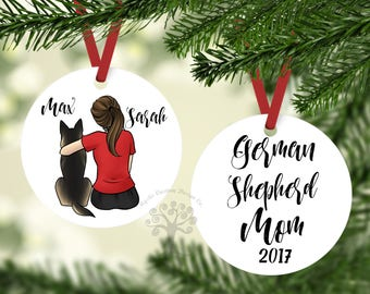 German Shepherd Mom, Custom Ornament, German Shepherd Gift, German Shepherd  Ornament, Personalized German Shepherd Ornament, GSD Ornament
