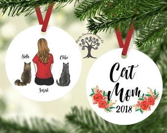 Personalized Cat Ornament, Cat Ornament, Custom Cat Mom, Gift For Cat Mom, Cat Lover Ornament, Cat Mom Ornament, Cat Mom Gift