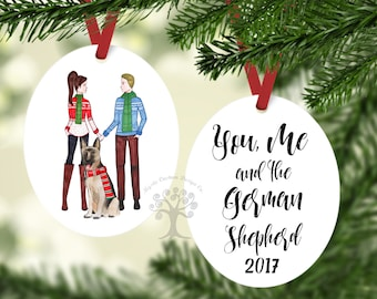 You, me and the German Shepherd Ornament, Personalized Christmas Ornament, German Shepherd Ornament, Dog Ornament,  German Shepherd Gift