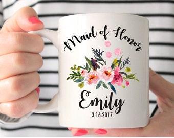 Maid of Honor Mug, Custom Wedding Mug, Maid of Honor Gift, Maid of Honor, Bridesmaids Mugs, Wedding Gift, Personalized Mug, Bridesmaid Gift