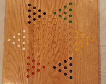 Solid Oak Chinese Checkers