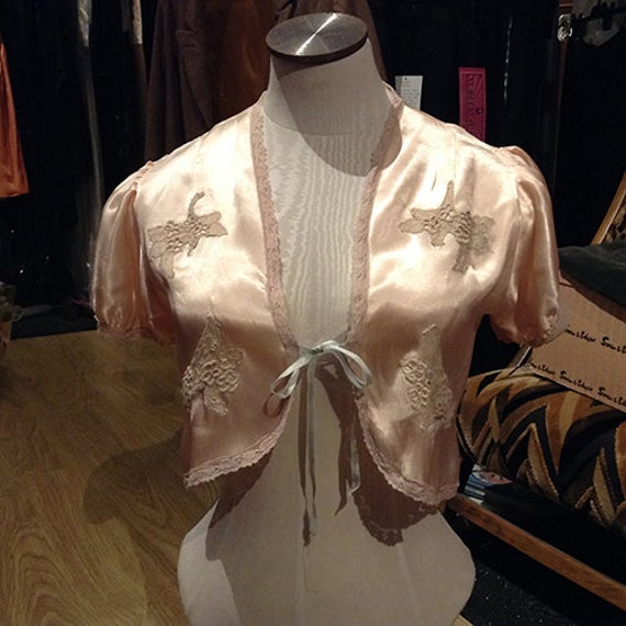Beautiful Vintage Satin Bed Jacket