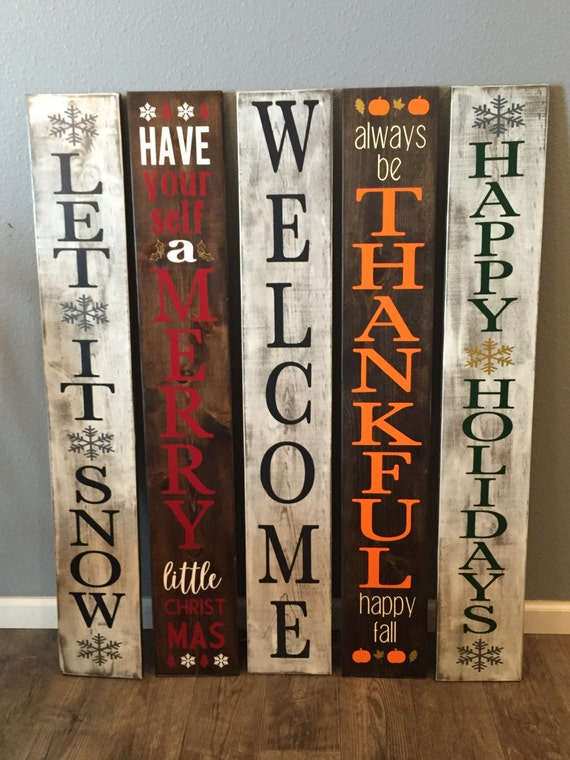 4 ft Reversible Rustic Welcome Let it snow Porch Sign