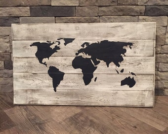 Rustic World Map Wooden Sign