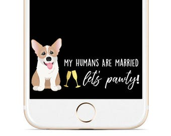 Dog Wedding Snapchat Filter - Corgi Snapchat Filter- Custom Pet Filter - Dog Wedding Geofilter - Corgi - Gold Wedding Filter - Custom Filter