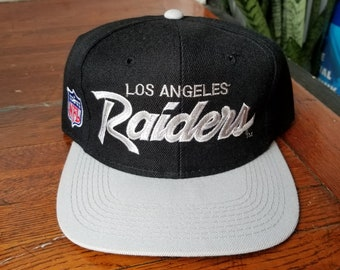 8994d5c0e815fa Vintage 90s Sports Specialties Los Angeles LA Raiders NFL Football Script  Unisex Snapback Hat